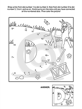 Dot-to-dot and coloring page - letter D, donkey and drum