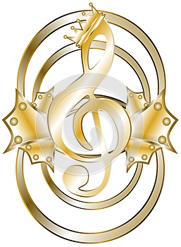 Elegant treble clef in gold isolated