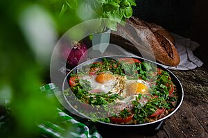 Excellent breakfast lunch - shakshuka. Fried eggs with vegetables in a frying pan
