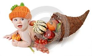 Fall Thanksgiving Baby in a Cornucopia