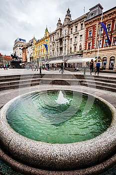 Fountain Mandusevac and buildings. Zagreb, Croatia