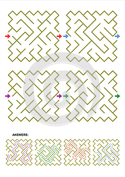 Four maze game templates with answers