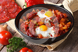Fried eggs with chorizo on Flemish recipe in the pan