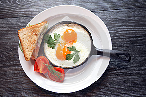 Fried Eggs On Pan