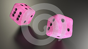 Furry Pink Dice rolling