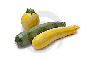 Gelbe, grüne, runde Zucchini