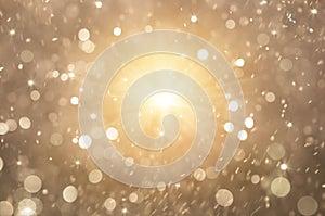 Glitter golden lights background, christmas lights and abstract blinking stars