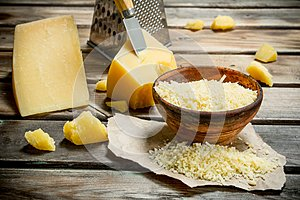 Grated Parmesan cheese in bowl