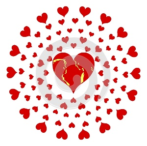 Hearts composition with stylized couple isolated