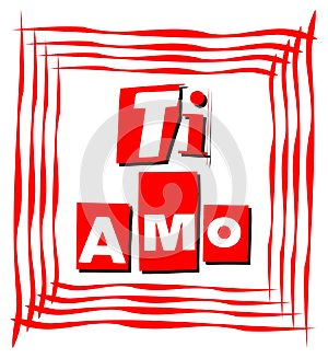 I love card in red in italian language
