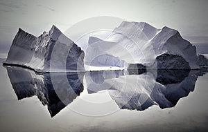 Icebergs Reflected in Still Waters, Antarctica - Stock Photos Antarctica Tourists Locations