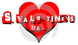 Valentine greeting card with heart in english