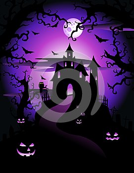 Illustration of scary violet halloween theme