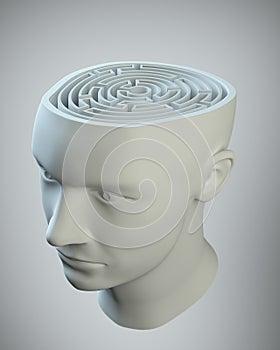 Kopf mit einem Labyrinth nach innen