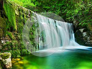 Lake Emerald Waterfalls Forest Landscape