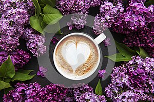 Lilac and cup of coffee  in flat style on black concrete  background