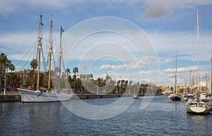 Luxury boats at Barcelona sports port