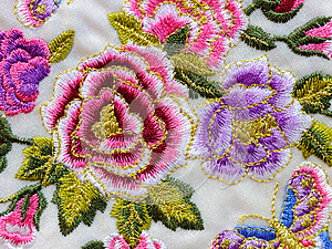 Macro detail silk embroidery flowers