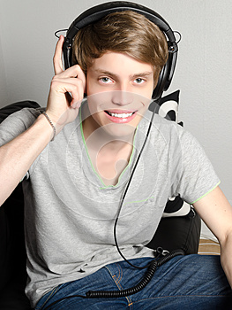 Man with headphones smiling
