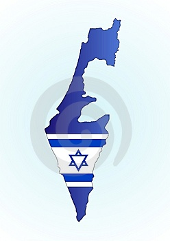 Map Israel And Flag Royalty Free Stock Photo
