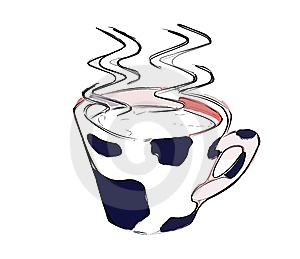 Cup of steaming hot milk isolated