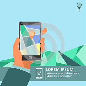 Mobile gps navigation on mobile phone with map poster