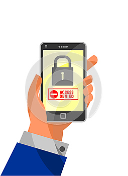 Mobile Security concept: Access Denied on smartphone.