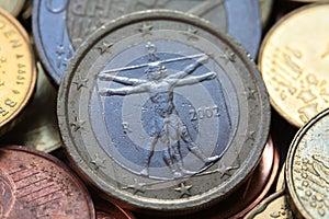 Moneda Euro Del Italiano Uno Imagenes De Archivo