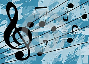 colorful Musical background with notes