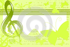 Musical background illustration in green and white