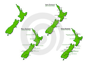New Zealand Tourism Vector Maps Set - Stock Photos South Pacific Sightseeing Sites