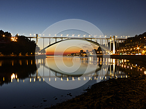 Night Bridge Oporto Portugal