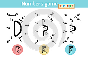 Numbers game (Alphabet): letters D, E, F