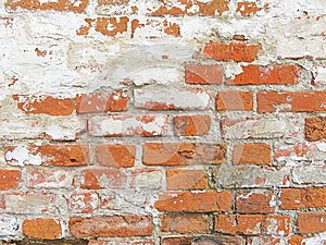 Red, Terracotta and White Brick Background. Old Wall of Red Bric