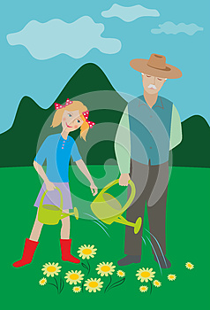 Older man and girl watering flowers