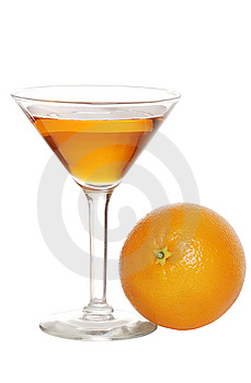 Orange martini with fruit