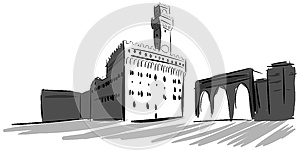 Palazzo Vecchio in Florence in grey tones isolated