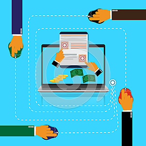 Pay, per, click, internet, concept, vector illustration in flat style for web