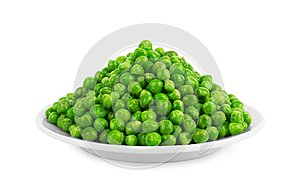 Peas in a white plate on a white background