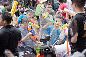 People celebrating Songkran