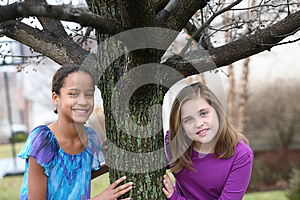 Portrait of preteen girls smiling