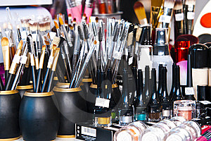 Professional makeup brushes and eye shadows