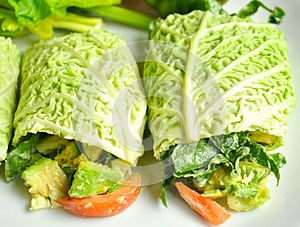 Raw food diet concept with fresh cabbage rolls
