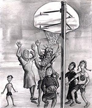 Religious playing basketball.