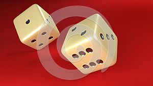 Rolling Dice pair red background