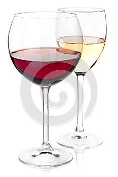 Roter und weißer Wein der Weinansammlung - in den Gläsern