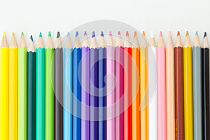 Row of color pencil crayons