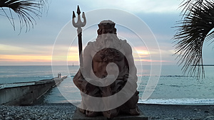 Sea god Neptune at sunset, Sochi resort