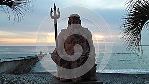 Sea god Neptune at sunset, Sochi resort