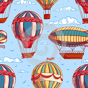 Seamless background with colorful balloons and airships (vector, raster,  illustration, transportation)